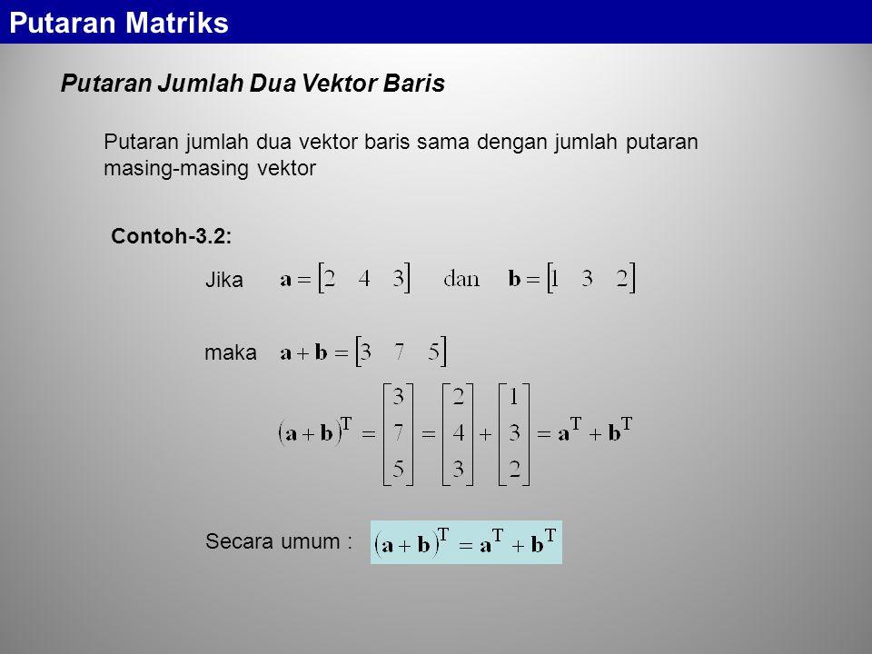 Putaran Jumlah Dua Vektor Baris Putaran Matriks Putaran jumlah dua vektor baris sama dengan jumlah putaran masing-masing vektor Jika maka Secara umum : Contoh-3.2: