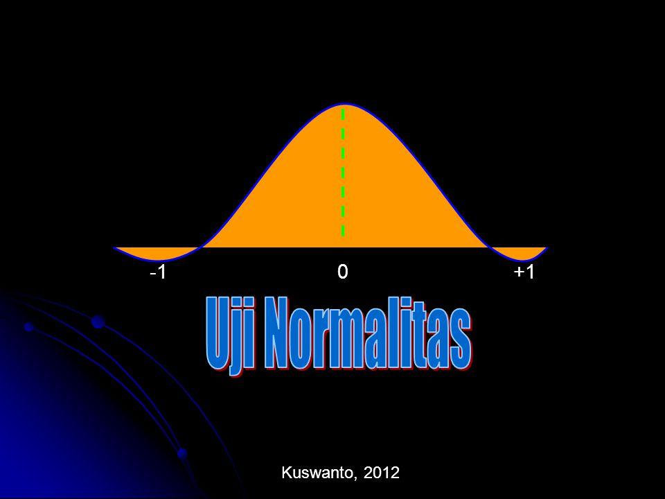 Uji Normalitas  Untuk keperluan analisis selanjutnya, dalam statistika induktif harus diketahui model distribusinya  Dalam uji hipotesis, diperlukan asumsi distribusi gugus data, misalnya distribusi normal  Terdapat beberapa cara untuk menguji normalitas suatu data