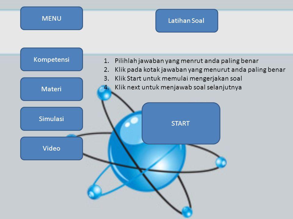 MENU Simulasi Video Kompetensi Materi Latihan Soal 1.Pilihlah jawaban yang menrut anda paling benar 2.Klik pada kotak jawaban yang menurut anda paling benar 3.Klik Start untuk memulai mengerjakan soal 4.Klik next untuk menjawab soal selanjutnya START