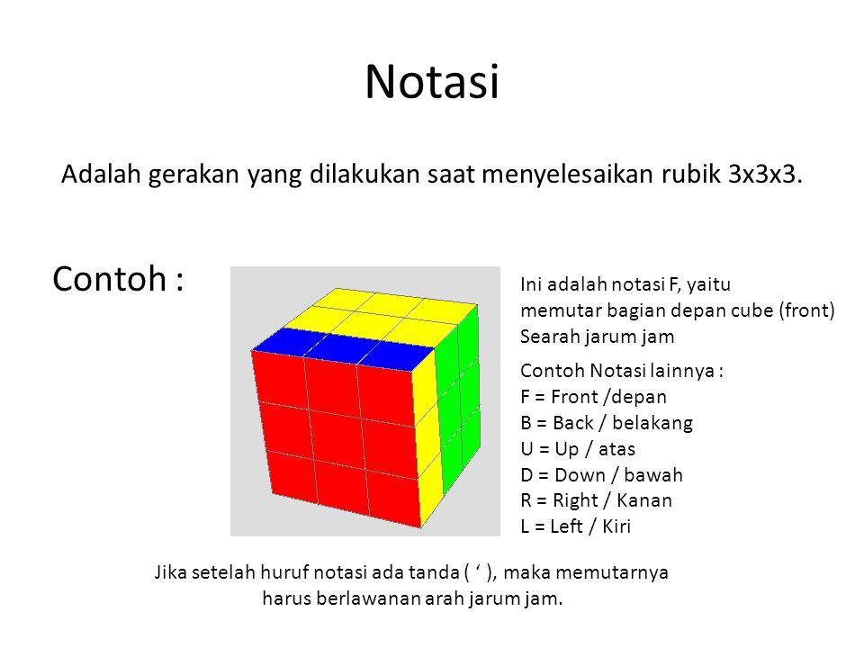 Notasi Adalah gerakan yang dilakukan saat menyelesaikan rubik 3x3x3. Contoh : Ini adalah notasi F, yaitu memutar bagian depan cube (front) Searah jaru