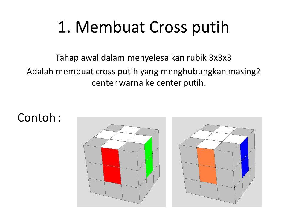 1. Membuat Cross putih Tahap awal dalam menyelesaikan rubik 3x3x3 Adalah membuat cross putih yang menghubungkan masing2 center warna ke center putih.