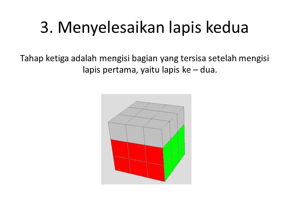3. Menyelesaikan lapis kedua Tahap ketiga adalah mengisi bagian yang tersisa setelah mengisi lapis pertama, yaitu lapis ke – dua.
