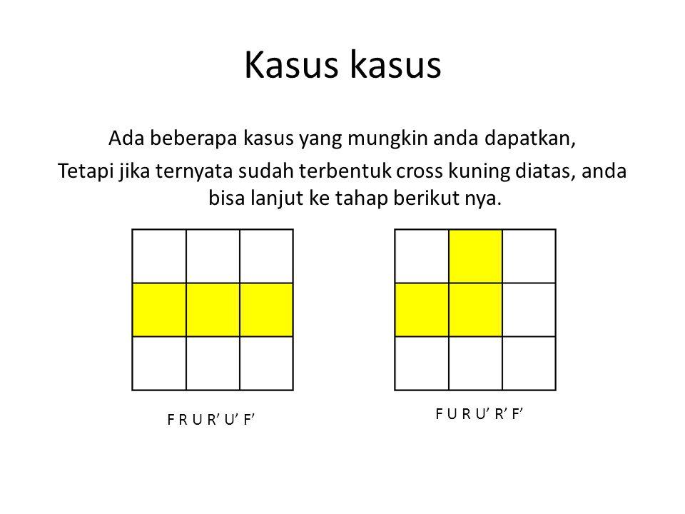 Kasus kasus Ada beberapa kasus yang mungkin anda dapatkan, Tetapi jika ternyata sudah terbentuk cross kuning diatas, anda bisa lanjut ke tahap berikut