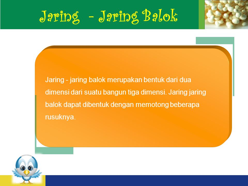 LOGO Jaring - Jaring Balok Jaring - jaring balok merupakan bentuk dari dua dimensi dari suatu bangun tiga dimensi.