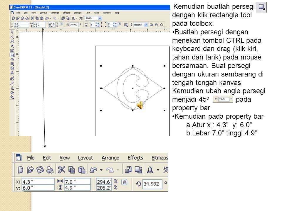 Kemudian buatlah persegi dengan klik rectangle tool pada toolbox. •Buatlah persegi dengan menekan tombol CTRL pada keyboard dan drag (klik kiri, tahan