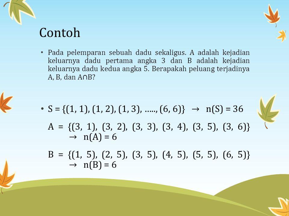 Contoh • Pada pelemparan sebuah dadu sekaligus. A adalah kejadian keluarnya dadu pertama angka 3 dan B adalah kejadian keluarnya dadu kedua angka 5. B