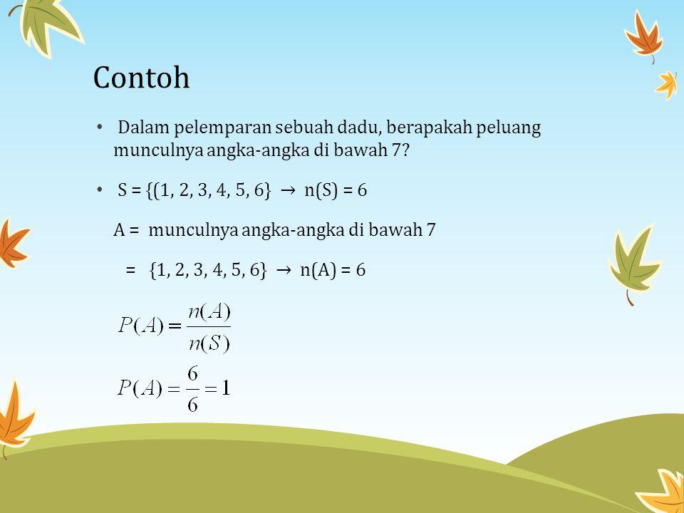 Contoh • Dalam pelemparan sebuah dadu, berapakah peluang munculnya angka-angka di bawah 7? • S = {(1, 2, 3, 4, 5, 6} → n(S) = 6 A = munculnya angka-an