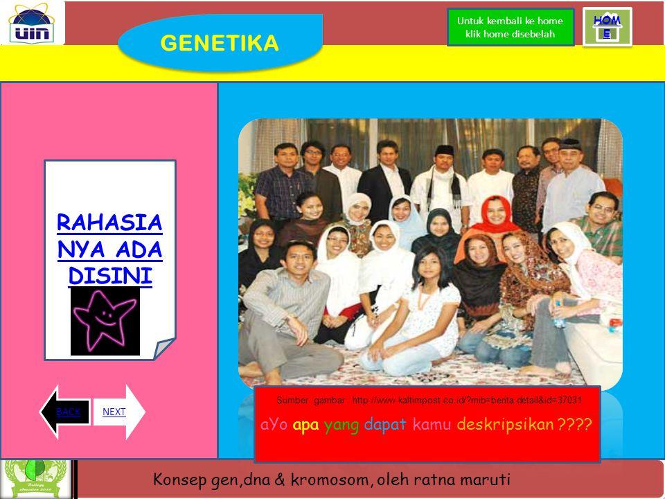 Konsep gen,dna & kromosom, oleh ratna maruti Apa itu GENETIKA kromosom DNA GEN Klik kotak dibawah yya ^^ Kode genetik