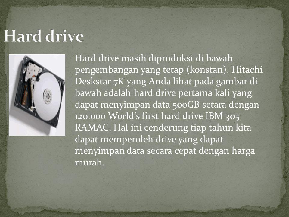 Hard drive masih diproduksi di bawah pengembangan yang tetap (konstan). Hitachi Deskstar 7K yang Anda lihat pada gambar di bawah adalah hard drive per