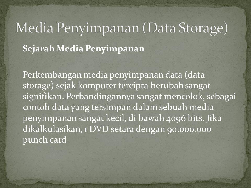 Sejarah Media Penyimpanan Perkembangan media penyimpanan data (data storage) sejak komputer tercipta berubah sangat signifikan. Perbandingannya sangat