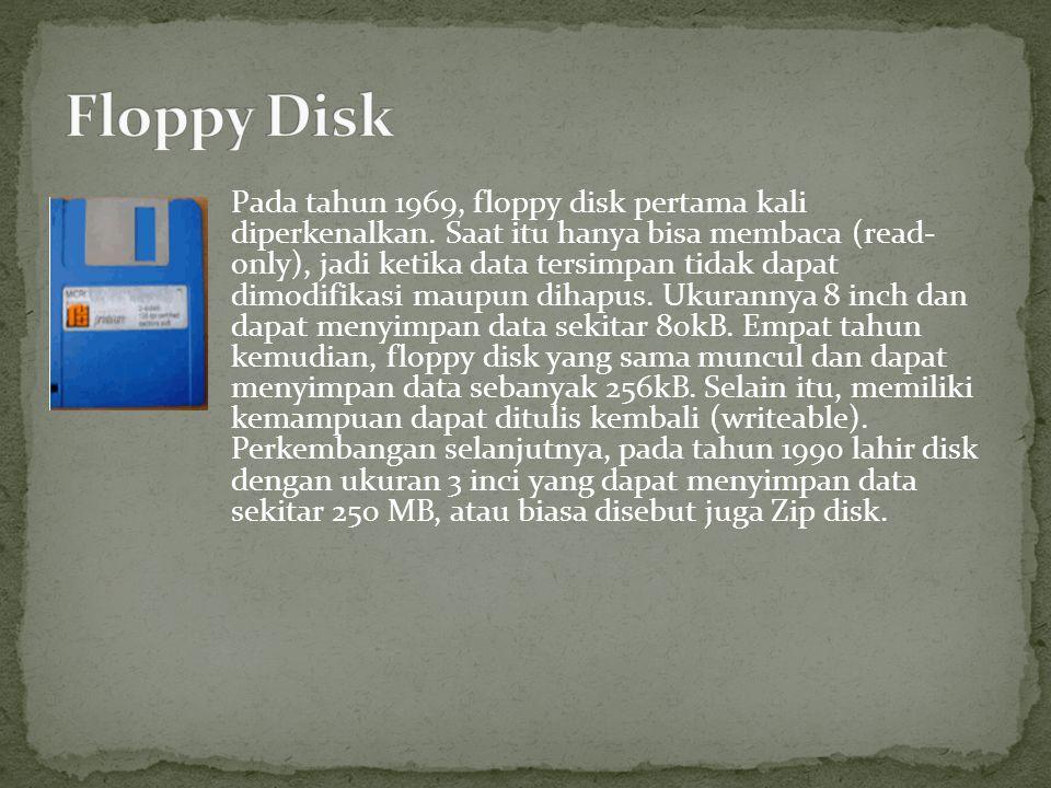 Pada tahun 1969, floppy disk pertama kali diperkenalkan. Saat itu hanya bisa membaca (read- only), jadi ketika data tersimpan tidak dapat dimodifikasi
