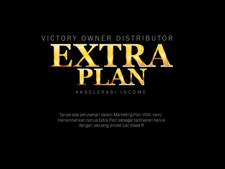 AKSELERASI INCOME Tanpa ada perubahan dalam Marketing Plan VOD, kami menambahkan bonus Extra Plan sebagai tambahan bonus dengan peluang omzet luar bia