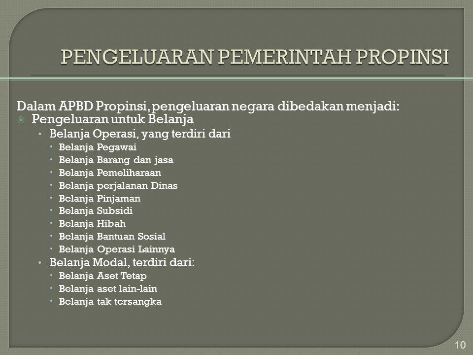 Dalam APBD Propinsi, pengeluaran negara dibedakan menjadi:  Pengeluaran untuk Belanja • Belanja Operasi, yang terdiri dari  Belanja Pegawai  Belanj