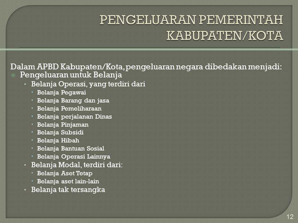 Dalam APBD Kabupaten/Kota, pengeluaran negara dibedakan menjadi:  Pengeluaran untuk Belanja • Belanja Operasi, yang terdiri dari  Belanja Pegawai 
