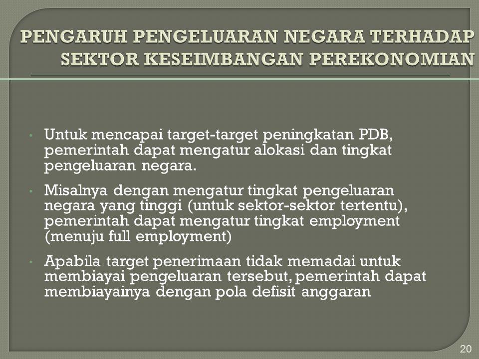 • Untuk mencapai target-target peningkatan PDB, pemerintah dapat mengatur alokasi dan tingkat pengeluaran negara. • Misalnya dengan mengatur tingkat p