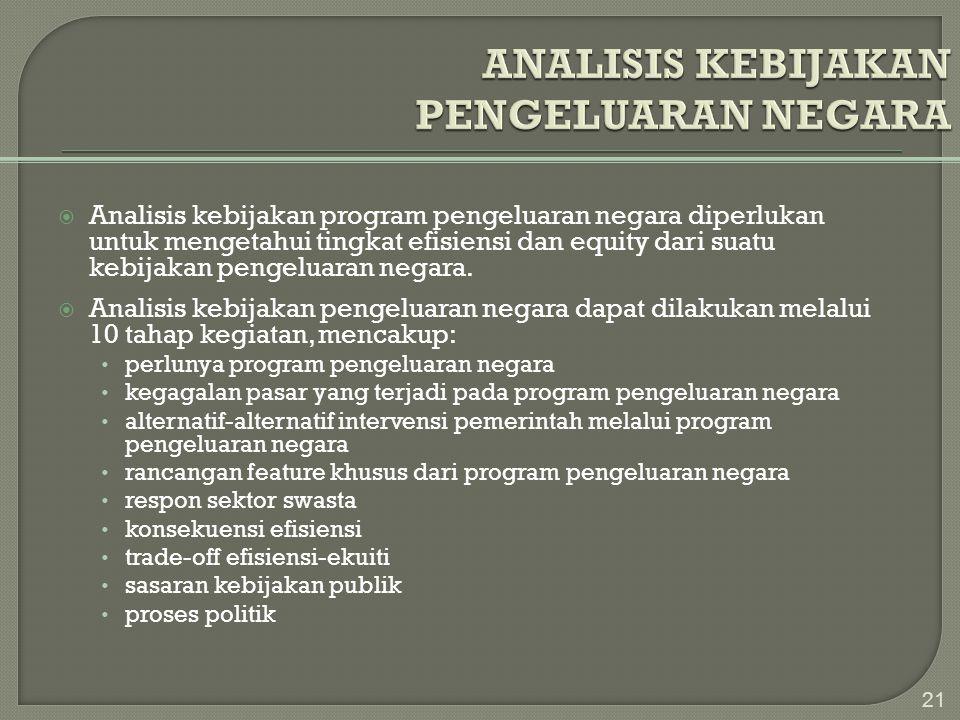  Analisis kebijakan program pengeluaran negara diperlukan untuk mengetahui tingkat efisiensi dan equity dari suatu kebijakan pengeluaran negara.  An