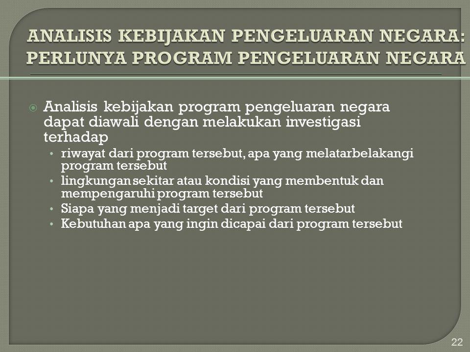  Analisis kebijakan program pengeluaran negara dapat diawali dengan melakukan investigasi terhadap • riwayat dari program tersebut, apa yang melatarb