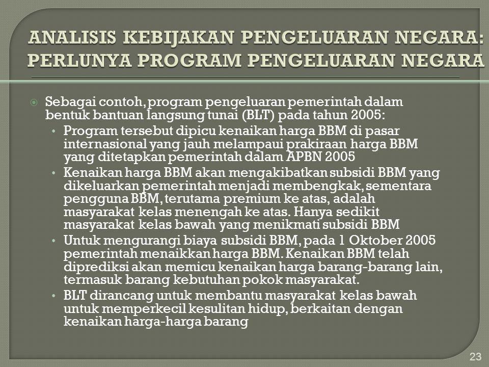  Sebagai contoh, program pengeluaran pemerintah dalam bentuk bantuan langsung tunai (BLT) pada tahun 2005: • Program tersebut dipicu kenaikan harga B