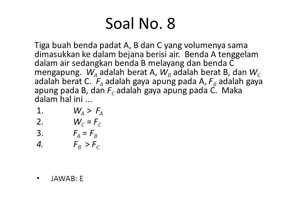 Soal No. 8 Tiga buah benda padat A, B dan C yang volumenya sama dimasukkan ke dalam bejana berisi air. Benda A tenggelam dalam air sedangkan benda B m