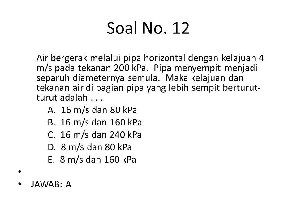 Soal No. 12 Air bergerak melalui pipa horizontal dengan kelajuan 4 m/s pada tekanan 200 kPa. Pipa menyempit menjadi separuh diameternya semula. Maka k