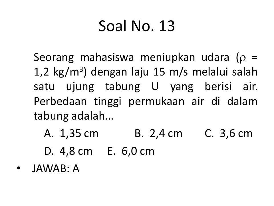 Soal No. 13 Seorang mahasiswa meniupkan udara (  = 1,2 kg/m 3 ) dengan laju 15 m/s melalui salah satu ujung tabung U yang berisi air. Perbedaan tingg
