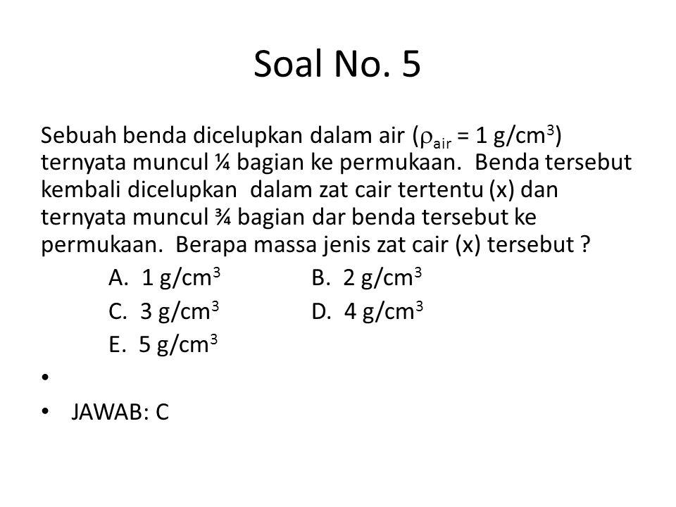 Soal No. 5 Sebuah benda dicelupkan dalam air (  air = 1 g/cm 3 ) ternyata muncul ¼ bagian ke permukaan. Benda tersebut kembali dicelupkan dalam zat c