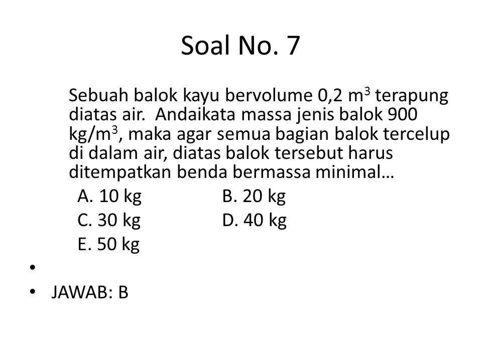 Soal No. 7 Sebuah balok kayu bervolume 0,2 m 3 terapung diatas air. Andaikata massa jenis balok 900 kg/m 3, maka agar semua bagian balok tercelup di d