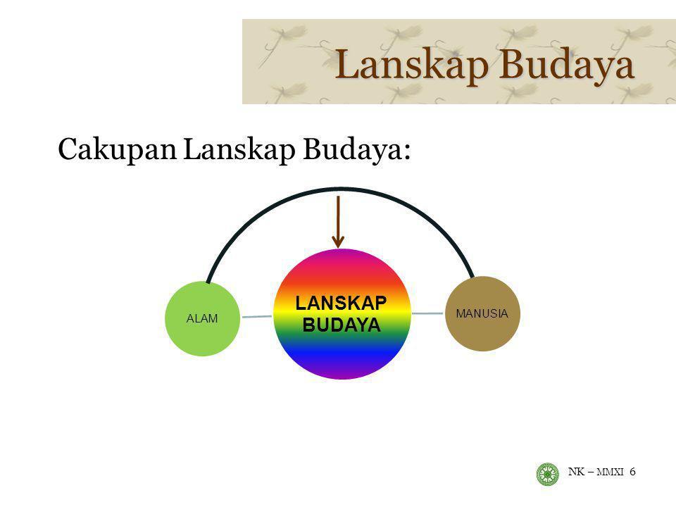 NK – MMXI 6 Lanskap Budaya Cakupan Lanskap Budaya: