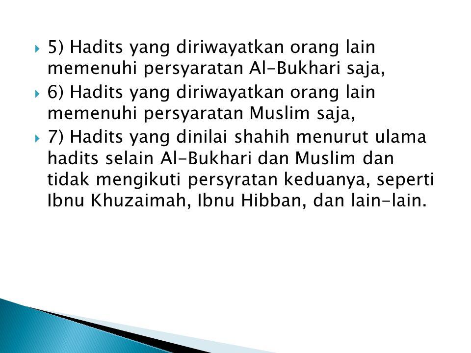  5) Hadits yang diriwayatkan orang lain memenuhi persyaratan Al-Bukhari saja,  6) Hadits yang diriwayatkan orang lain memenuhi persyaratan Muslim saja,  7) Hadits yang dinilai shahih menurut ulama hadits selain Al-Bukhari dan Muslim dan tidak mengikuti persyratan keduanya, seperti Ibnu Khuzaimah, Ibnu Hibban, dan lain-lain.