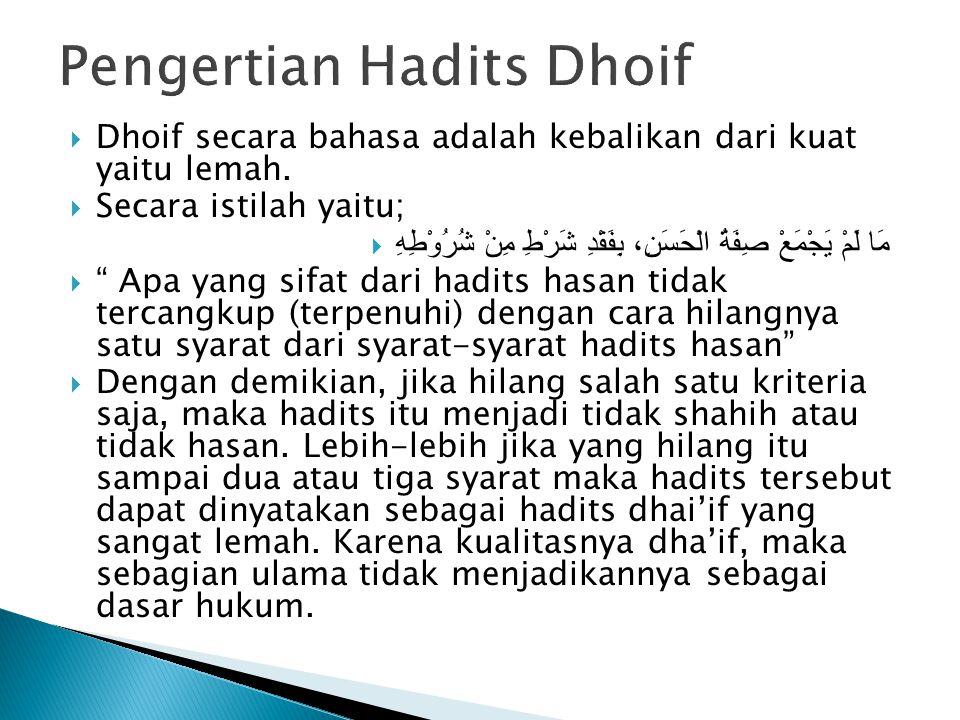  Dhoif secara bahasa adalah kebalikan dari kuat yaitu lemah.