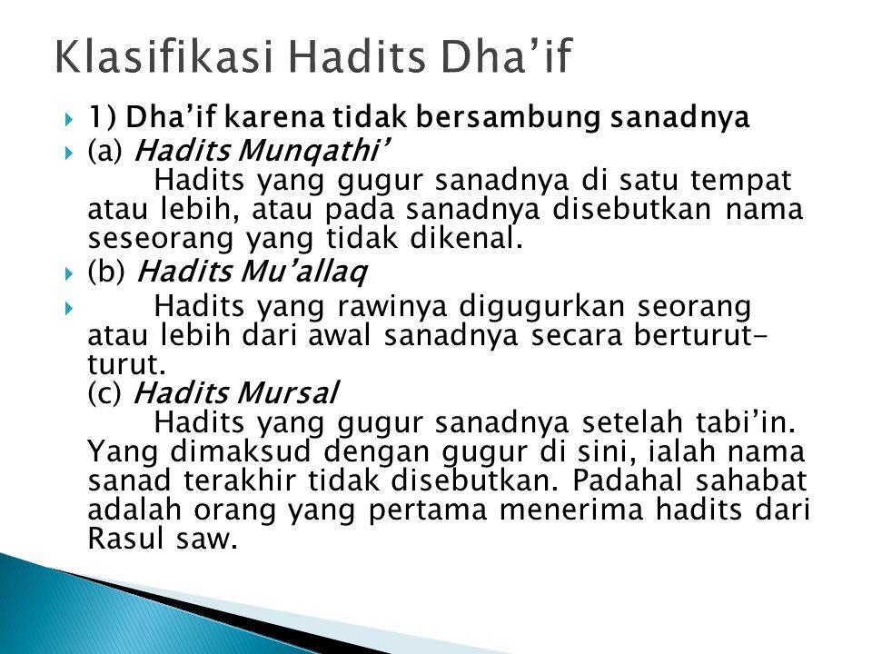  1) Dha'if karena tidak bersambung sanadnya  (a) Hadits Munqathi' Hadits yang gugur sanadnya di satu tempat atau lebih, atau pada sanadnya disebutkan nama seseorang yang tidak dikenal.