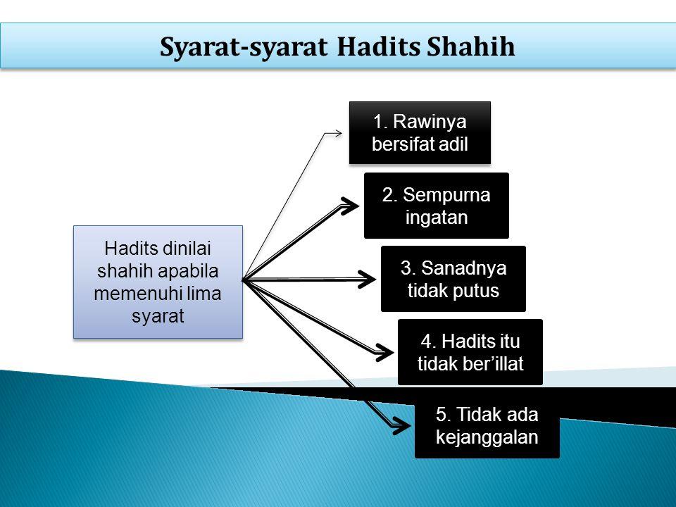 Syarat-syarat Hadits Shahih Hadits dinilai shahih apabila memenuhi lima syarat 1.