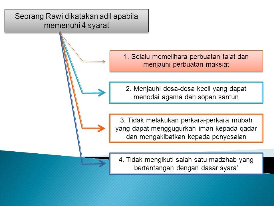 Seorang Rawi dikatakan adil apabila memenuhi 4 syarat 1.