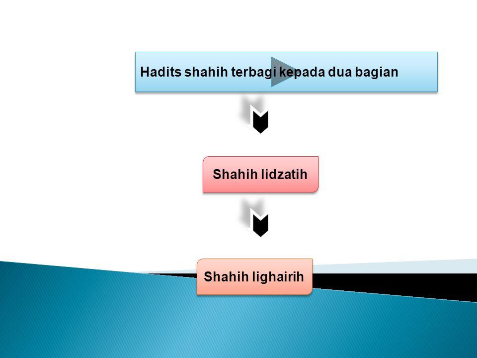 Hadits shahih terbagi kepada dua bagian Shahih lidzatih Shahih lighairih