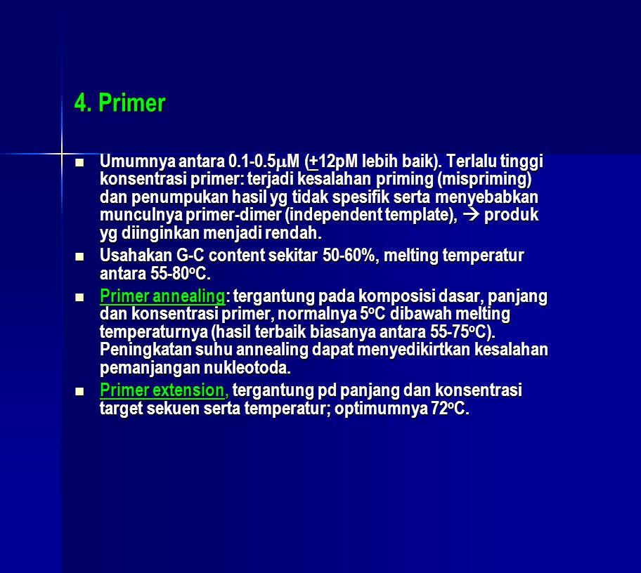 4. Primer  Umumnya antara 0.1-0.5  M (+12pM lebih baik). Terlalu tinggi konsentrasi primer: terjadi kesalahan priming (mispriming) dan penumpukan ha