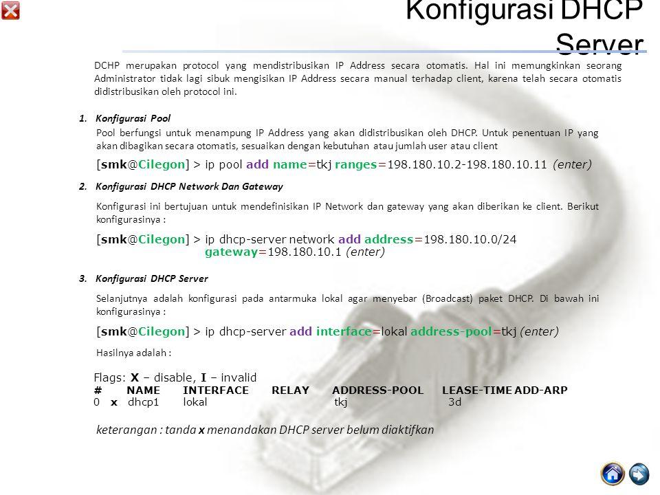Konfigurasi DHCP Server 1.Konfigurasi Pool DCHP merupakan protocol yang mendistribusikan IP Address secara otomatis.