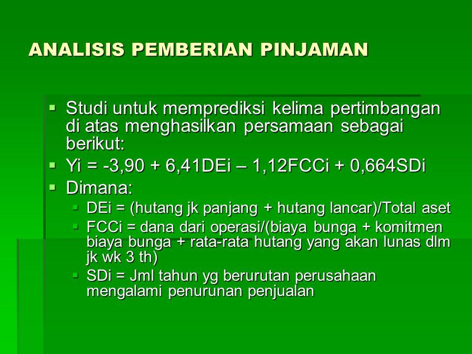 ANALISIS PEMBERIAN PINJAMAN  Studi untuk memprediksi kelima pertimbangan di atas menghasilkan persamaan sebagai berikut:  Yi = -3,90 + 6,41DEi – 1,1