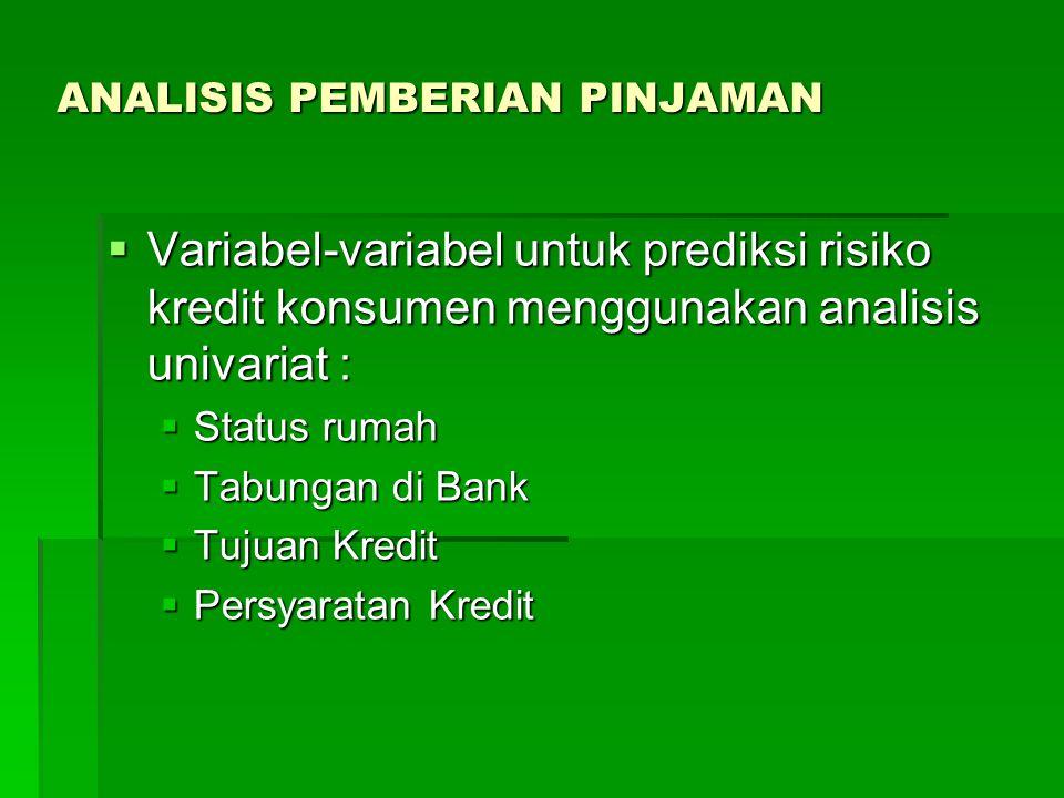 ANALISIS PEMBERIAN PINJAMAN  Variabel-variabel untuk prediksi risiko kredit konsumen menggunakan analisis univariat :  Status rumah  Tabungan di Ba