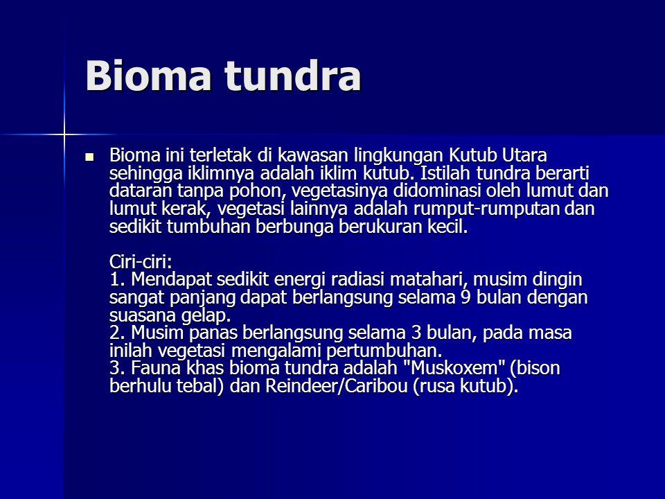 Bioma tundra  Bioma ini terletak di kawasan lingkungan Kutub Utara sehingga iklimnya adalah iklim kutub.