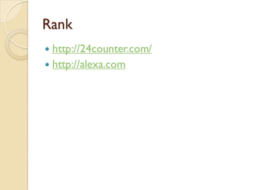 Rank  http://24counter.com/ http://24counter.com/  http://alexa.com http://alexa.com