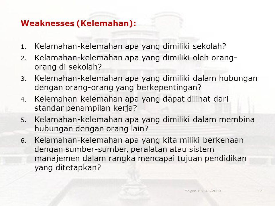 Weaknesses (Kelemahan): 1. Kelamahan-kelemahan apa yang dimiliki sekolah? 2. Kelamahan-kelemahan apa yang dimiliki oleh orang- orang di sekolah? 3. Ke