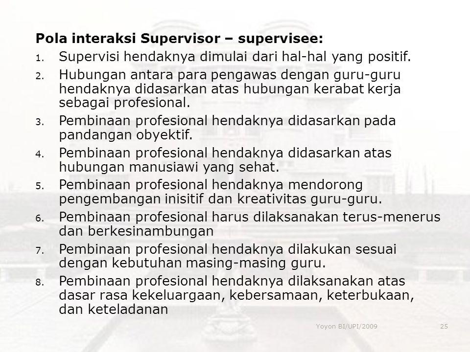 Pola interaksi Supervisor – supervisee: 1. Supervisi hendaknya dimulai dari hal-hal yang positif. 2. Hubungan antara para pengawas dengan guru-guru he