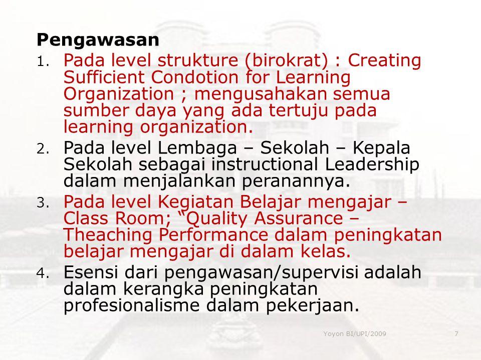 Pengawasan 1. Pada level strukture (birokrat) : Creating Sufficient Condotion for Learning Organization ; mengusahakan semua sumber daya yang ada tert
