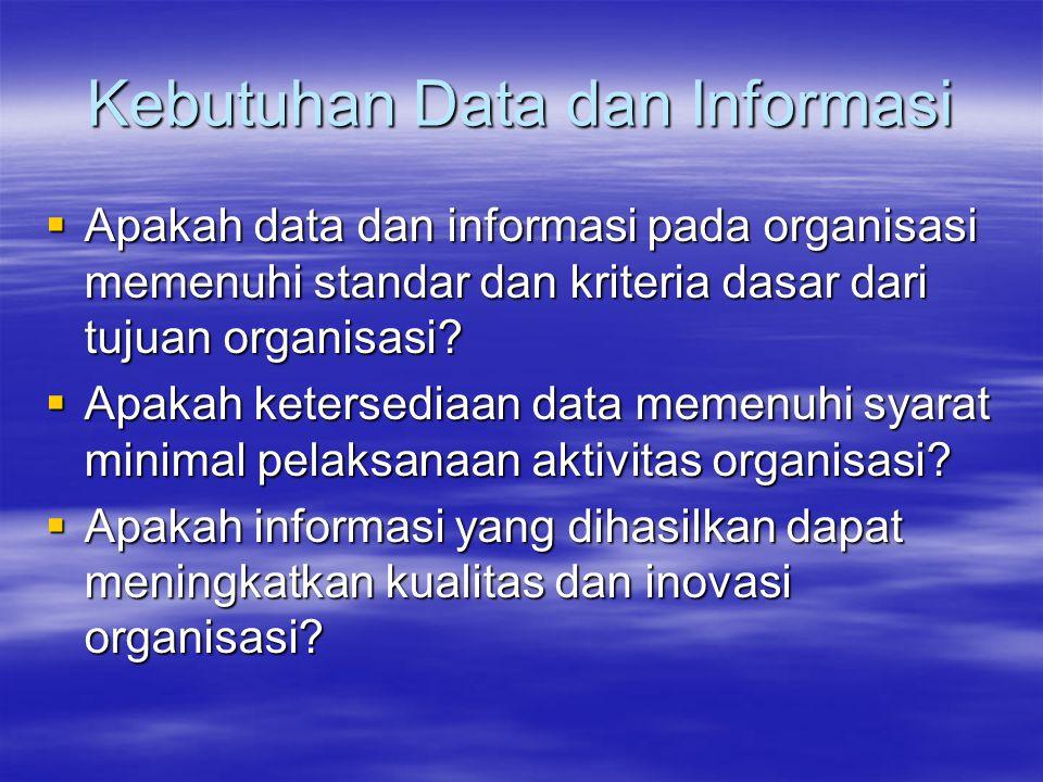 Kebutuhan Data dan Informasi  Apakah data dan informasi pada organisasi memenuhi standar dan kriteria dasar dari tujuan organisasi?  Apakah ketersed