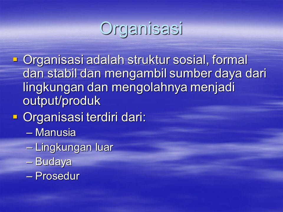 Organisasi  Organisasi adalah struktur sosial, formal dan stabil dan mengambil sumber daya dari lingkungan dan mengolahnya menjadi output/produk  Or