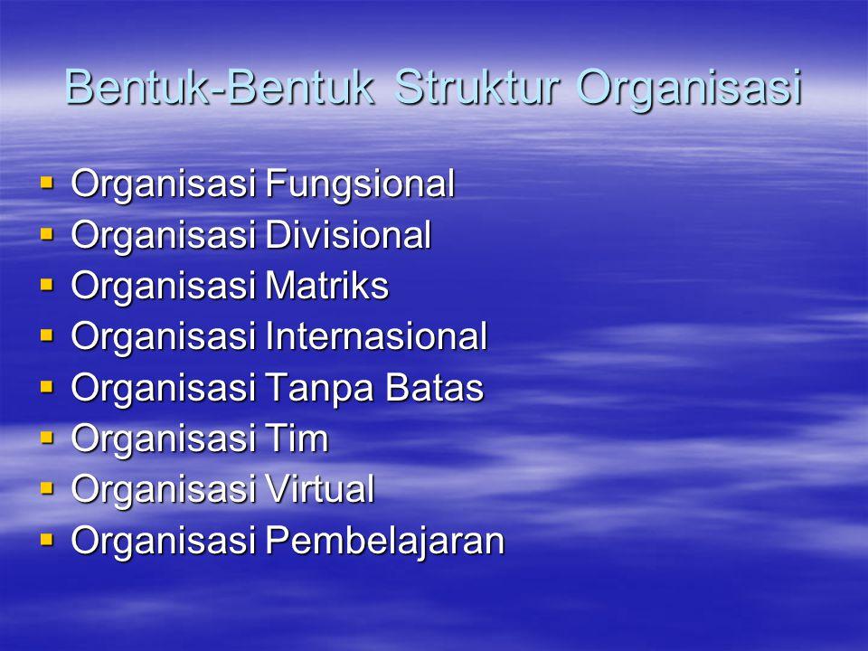 Bentuk-Bentuk Struktur Organisasi  Organisasi Fungsional  Organisasi Divisional  Organisasi Matriks  Organisasi Internasional  Organisasi Tanpa B