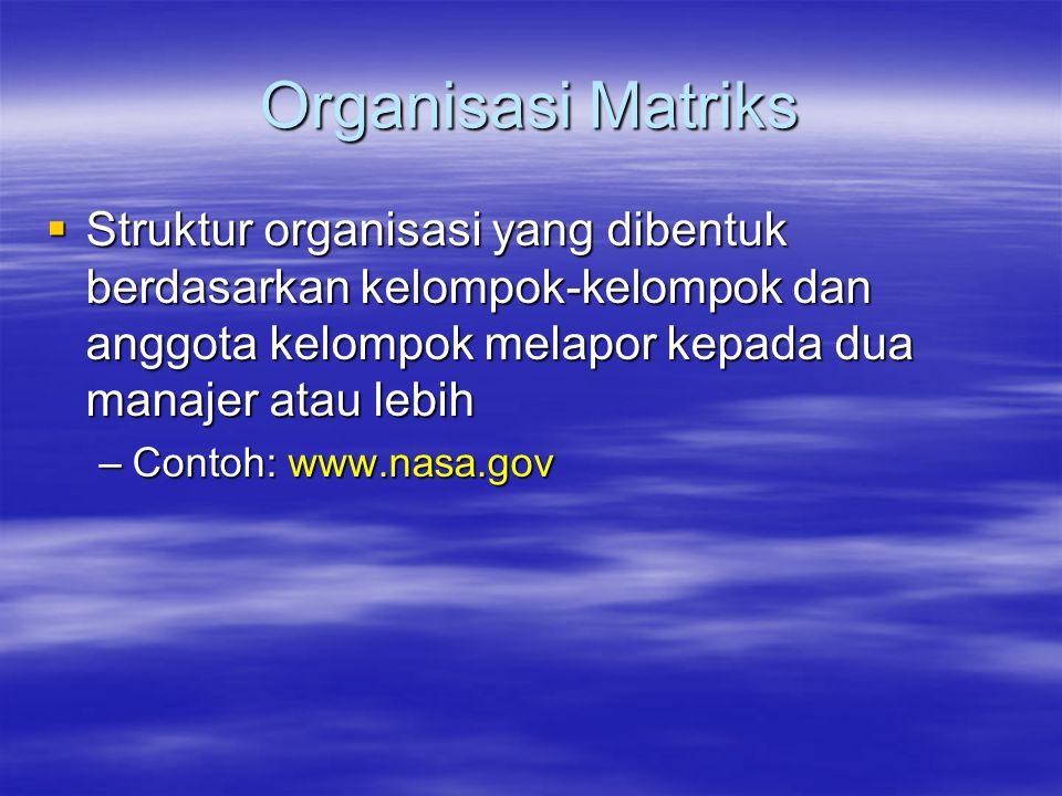 Organisasi Matriks  Struktur organisasi yang dibentuk berdasarkan kelompok-kelompok dan anggota kelompok melapor kepada dua manajer atau lebih –Conto