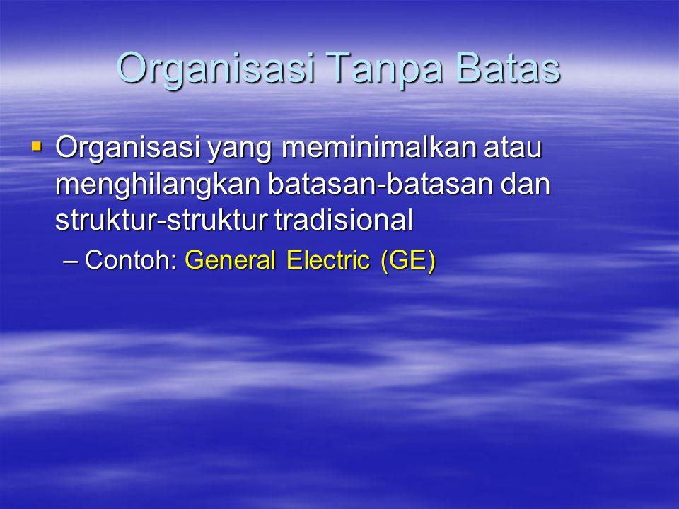 Organisasi Tanpa Batas  Organisasi yang meminimalkan atau menghilangkan batasan-batasan dan struktur-struktur tradisional –Contoh: General Electric (