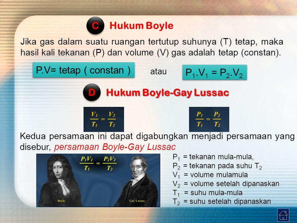 Jika gas dalam suatu ruangan tertutup suhunya (T) tetap, maka hasil kali tekanan (P) dan volume (V) gas adalah tetap (constan).