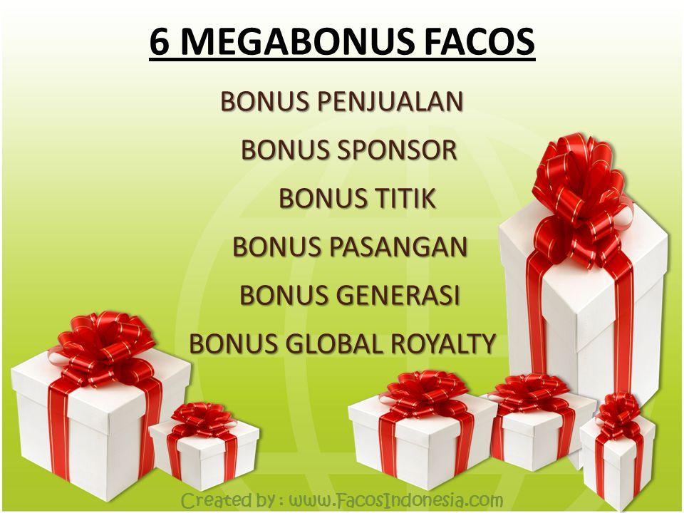 6 MEGABONUS FACOS BONUS PENJUALAN BONUS SPONSOR BONUS TITIK BONUS PASANGAN BONUS GLOBAL ROYALTY BONUS GENERASI Created by : www.FacosIndonesia.com